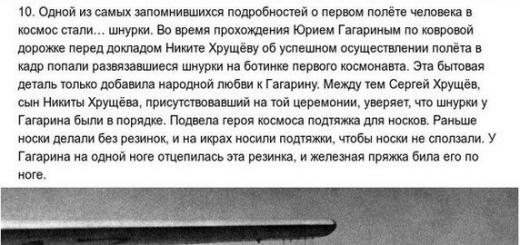 10 малоизвестных фактов о полёте Юрия Гагарина.