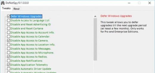 DoNotSpy10 отключает «шпионские» возможности Windows 10