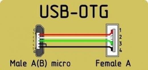 Распиновка USB-OTG кабеля.